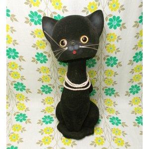 昭和レトロ 大きな フロッキー 首振り人形 黒猫