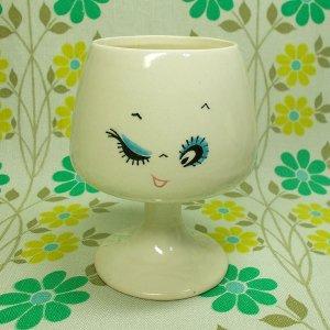 昭和レトロポップ なかよし表情カップ ブランデーカップ ウインク