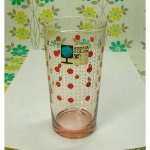 レトロポップ ピンクガラス 水玉柄 グラス ルビー