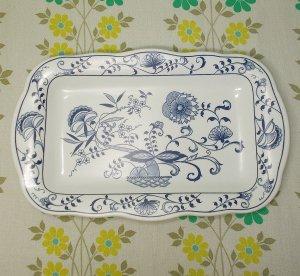 レトロプラスチック ブルーオニオン柄 メラミン皿 角皿