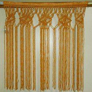 昭和レトロ 手編みのれん 菱形 オレンジ