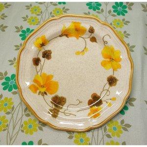 レトロ mikasa製 ガーデンクラブ イエロー花柄 プレート φ20cm