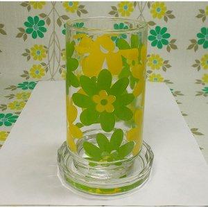 レトロポップ イエロー×グリーン花柄 タンブラーグラス コースター付き