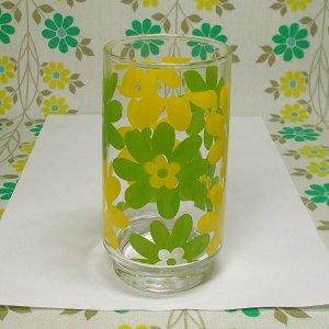 レトロポップ イエロー×グリーン花柄 タンブラーグラス