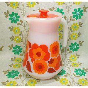 フランスビンテージ arcopal 花柄 ガラスピッチャー レッド