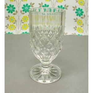 レトロ プレスガラス レトロ柄 脚付きグラス