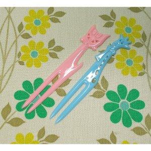 レトロプラスチック ペットフォーク ネコ&キリン