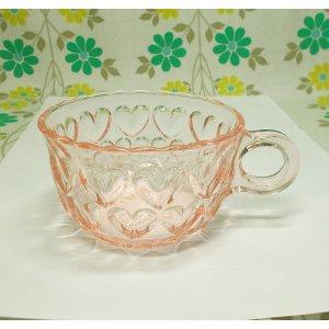 レトロポップ ピンクガラス ハート柄 カップ
