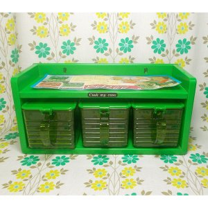 レトロプラスチック 3連 調味料ラック クックマイケース グリーン