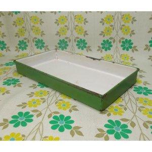 昭和レトロ ホーロー製 トレー グリーン 15×27.5cm