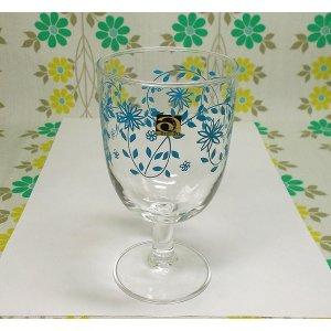 レトロポップ ブルー花柄 ゴブレットグラス