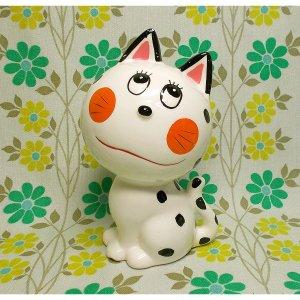 昭和レトロ RUNE 陶器製 ネコの貯金箱人形
