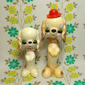 昭和レトロ 陶器製 プードル犬人形 ペア