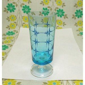 レトロポップ ブルーガラス 格子柄 足付きグラス