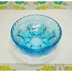 レトロポップ プレスガラス 青ガラス 小鉢