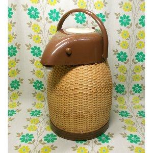 レトロ 籐編み 魔法瓶 エアーポット 2.2L