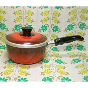 レトロポップ アルミ鋳物ホーロー製 片手鍋 18cm 赤グラデーション