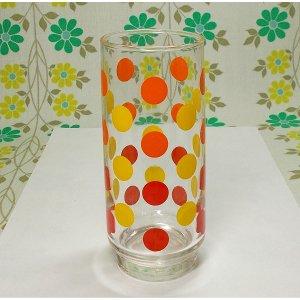 レトロポップ オレンジ×レッド×イエロー水玉柄 グラス
