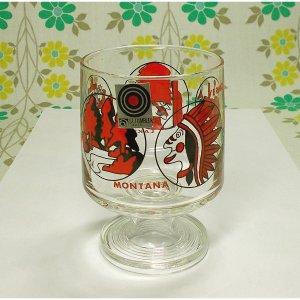 レトロポップ インディアン柄 足付きグラス