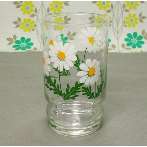 レトロポップ デイジー花柄 ホワイト タンブラーグラス 野ばな
