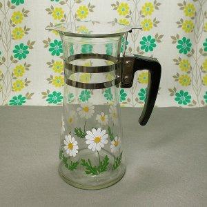 レトロポップ ホワイト デイジー花柄 ガラス水差し