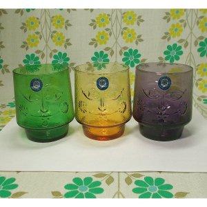 昭和レトロモダン 顔レリーフ柄 3色カラー グラスセット