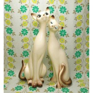 レトロポップ 陶器製 猫の置物 ペア
