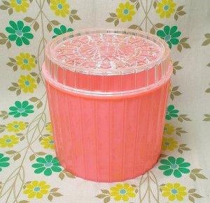 レトロプラスチック ダイヤカット フタ付き容器(大) ピンク