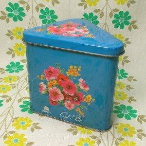 レトロポップ ブリキ製 花柄 オイルポット ブルー