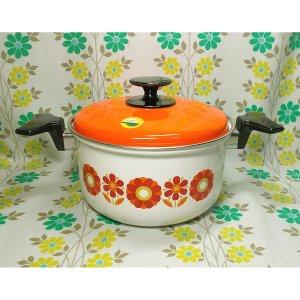 レトロポップ ママーフラワー花柄 ホーロー製 両手鍋