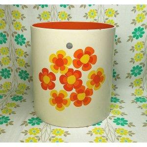 レトロポップ オレンジ×イエロー花柄 円筒型ボックス A