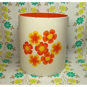 レトロポップ オレンジ×イエロー花柄 円筒型ボックス B