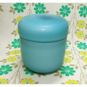 レトロモダン 乳白擦りガラス ボンボン入れ ブルー