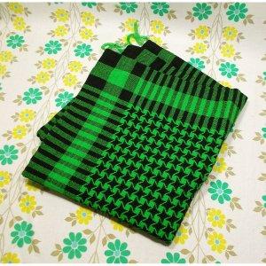 レトロポップ 座布団カバー グリーン×ブラック 千鳥格子柄