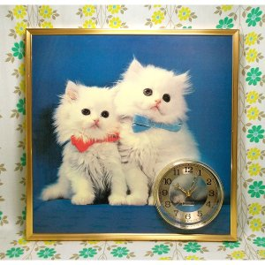 レトロポップ 可愛いネコちゃんのパネル時計