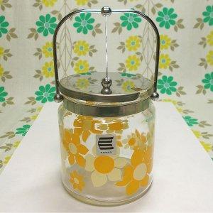 レトロポップ イエロー花柄 ガラス製 シュガーポット