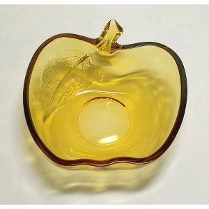 レトロポップ アンバーガラス リンゴ型 デザートボウル