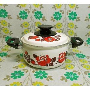 レトロポップ 薔薇花柄 ホーロー製 両手鍋 16cm
