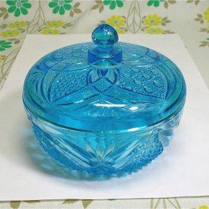 レトロポップ 青プレスガラス キャンディーポット