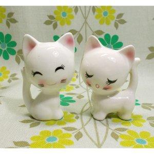 昭和レトロ RUNE 陶器製 小猫のペア人形 A