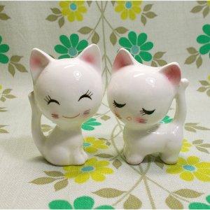 昭和レトロ RUNE 陶器製 小猫のペア人形 B