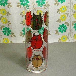 レトロ 猫のロンググラス