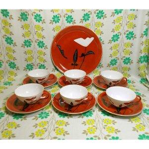 レトロモダン 陶器製 花柄 ティーセット