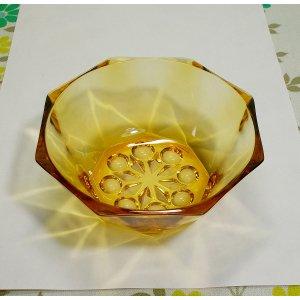 レトロポップ プレスガラス アンバー 八角 小鉢