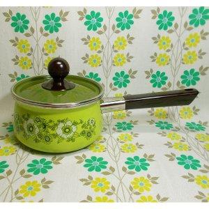 レトロポップ フローリー花柄 ホーロー製 片手鍋 16cm グリーン
