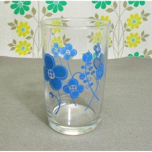 レトロポップ 花柄 グラス ブルー