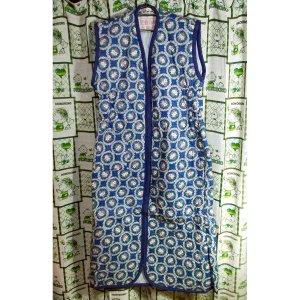 レトロポップ 花柄 袖なし かいまき布団 ブルー