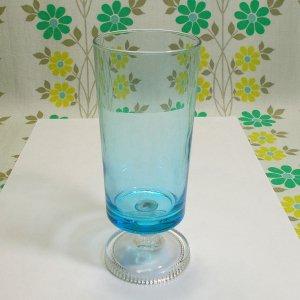レトロポップ ブルーガラス 足付きグラス