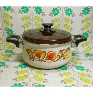 レトロポップ 花柄 ホーロー製 両手鍋 20cm トキリーベ