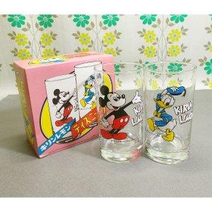 昭和レトロ キリンレモン ミッキー&ドナルド グラス 2個セット